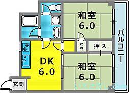 兵庫県神戸市中央区花隈町丁目なしの賃貸マンションの間取り
