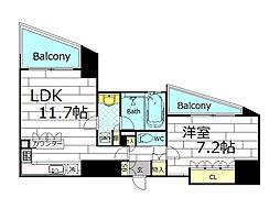 リーガル岡崎橋[8階]の間取り