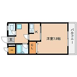 近鉄大阪線 桜井駅 徒歩4分の賃貸マンション 4階1Kの間取り