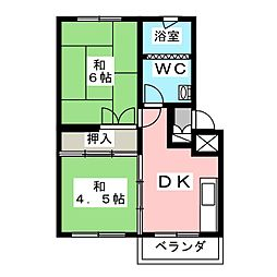 吉野原丸徳マンション 4階2DKの間取り