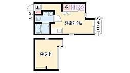 愛知県名古屋市南区道徳新町4丁目の賃貸アパートの間取り