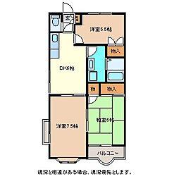 長野県長野市大字徳間の賃貸アパートの間取り