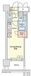 都営浅草線 泉岳寺駅 徒歩14分の賃貸マンション 15階ワンルームの間取り