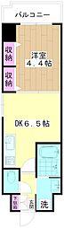 ミューズ竹の塚 6階1DKの間取り