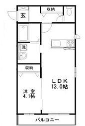 JR宇野線 妹尾駅 徒歩6分の賃貸アパート 2階1LDKの間取り