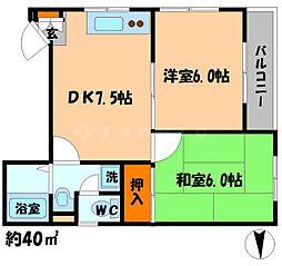 ノッピーハイム 2階2DKの間取り