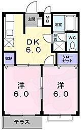 南海高野線 北野田駅 徒歩18分の賃貸アパート 2階2DKの間取り