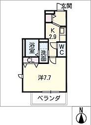 メゾン加納栄町通E 4階1Kの間取り