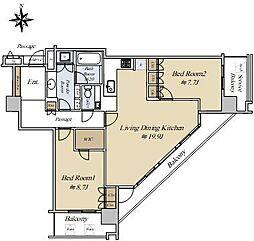 コスモポリス品川 26階2LDKの間取り