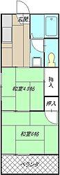 コーポ田中(折尾)[201号室]の間取り