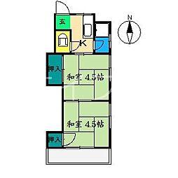 大久保アパート2[2階]の間取り