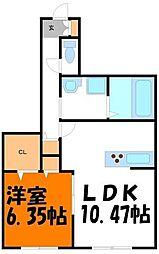 カサグランデ新川崎 3階1LDKの間取り