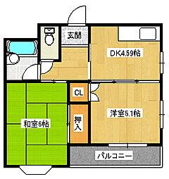 千萩マンションC[4階]の間取り