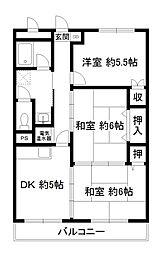 桂ガーデンハイツ[1階]の間取り