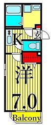 東京メトロ日比谷線 三ノ輪駅 徒歩13分の賃貸アパート 2階1Kの間取り