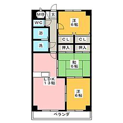 ピアチェボーレ春日井[4階]の間取り