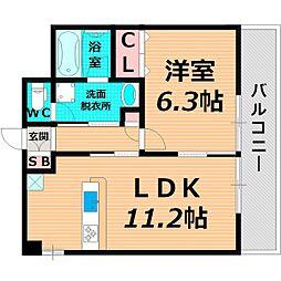 Osaka Metro今里筋線 清水駅 徒歩8分の賃貸マンション 1階1LDKの間取り