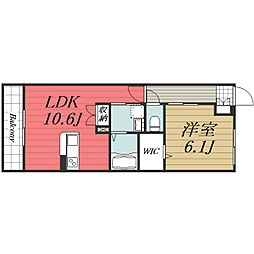 JR成田線 成田駅 バス13分 教習所東下車 徒歩3分の賃貸マンション 2階1LDKの間取り