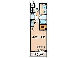 京都地下鉄東西線 東野駅 徒歩10分の賃貸マンション 2階ワンルームの間取り