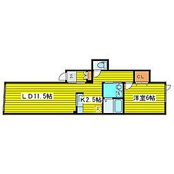 北海道札幌市東区伏古一条2丁目の賃貸アパートの間取り