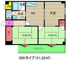 扇町亀甲マンション[5階]の間取り