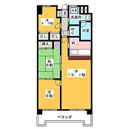 ロータリー春岡[8階]の間取り