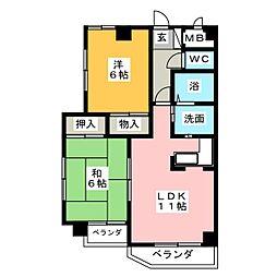 リバーハイツ[3階]の間取り