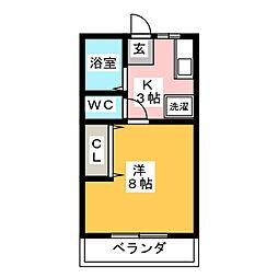 シティハイム八剱B[1階]の間取り