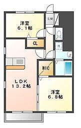 愛知県名古屋市天白区福池2丁目の賃貸アパートの間取り