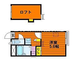 JR赤穂線 西大寺駅 徒歩28分の賃貸アパート 2階1Kの間取り