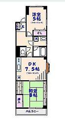 リバーサイド蘭[3階]の間取り