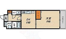 Osaka Metro今里筋線 新森古市駅 徒歩2分の賃貸マンション 1階1DKの間取り