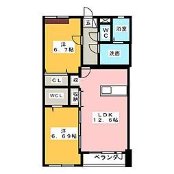 シエスタ神明II[2階]の間取り
