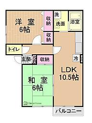 神奈川県相模原市中央区小山2丁目の賃貸アパートの間取り