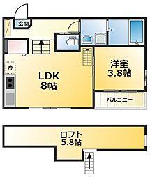 maison douce清水 1階1LDKの間取り