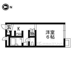 JR東海道・山陽本線 向日町駅 徒歩9分の賃貸マンション 2階ワンルームの間取り