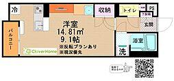 小田急小田原線 本厚木駅 バス17分 睦合東中学校入口下車 徒歩4分の賃貸アパート 2階ワンルームの間取り