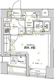 ディアレイシャス東京ベイ潮見 7階1Kの間取り