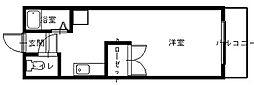 バス 長崎バス上戸町住宅前下車 徒歩1分の賃貸マンション 2階ワンルームの間取り