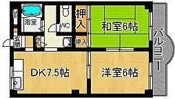 奈良県奈良市白毫寺町の賃貸マンションの間取り