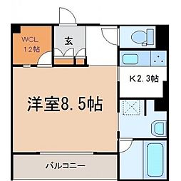 ベレオ真栄広瀬町 2階1Kの間取り