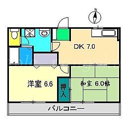 フォブール松岡B[1階]の間取り