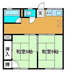 富士ハイツA[1階]の間取り