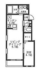 神奈川県横浜市神奈川区三枚町の賃貸アパートの間取り