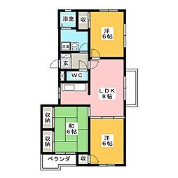 オリーブ C棟[2階]の間取り