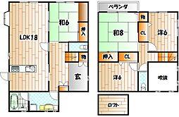 [一戸建] 福岡県北九州市若松区青葉台西2丁目 の賃貸【/】の間取り