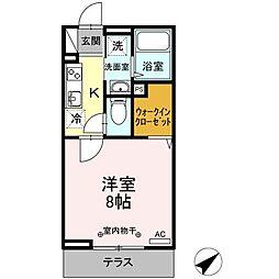 仙台市営南北線 五橋駅 徒歩10分の賃貸アパート 3階1Kの間取り