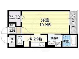 JR東海道・山陽本線 立花駅 徒歩20分の賃貸マンション 2階ワンルームの間取り
