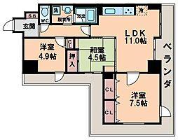 デ・リード阿倍野筋東[9階]の間取り
