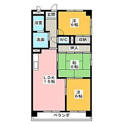 愛知県名古屋市中川区荒子町字地蔵前の賃貸マンションの間取り